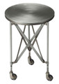 """CANARY WHARF"" INDUSTRIAL LOOK ROUND ACCENT TABLE - BRUSHED NICKEL FINISH - FREE SHIPPING*"