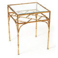"""SHANGHAI GARDEN"" SQUARE GLASS TOP BAMBOO STYLE TABLE - ANTIQUE GOLD FINISH"