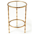 """SHANGHAI GARDEN"" ROUND GLASS TOP BAMBOO STYLE TABLE - ANTIQUE GOLD FINISH"