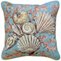 "DECORATIVE PILLOWS - SANIBEL ISLAND THROW PILLOW - 18"" SQUARE - SEASHELL PILLOW"
