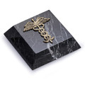 MEDICAL CADUCEUS MARBLE PAPERWEIGHT - MEDICAL OFFICE DESK ACCESSORY