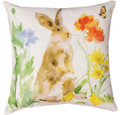 """BUNNY IN THE GARDEN"" INDOOR OUTDOOR PILLOW #2 - 18"" SQUARE - FLORAL DECOR"