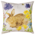 """BUNNY IN THE GARDEN"" INDOOR OUTDOOR PILLOW #1 - 18"" SQUARE -  FLORAL DECOR"