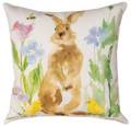 """BUNNY IN THE GARDEN"" INDOOR OUTDOOR PILLOW #3 - 18"" SQUARE - FLORAL DECOR"