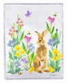 """BUNNY IN THE GARDEN"" THROW BLANKET - 50"" X 60"" - RABBIT - FLOWERS"