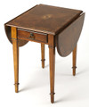 PEMBROKE INLAID DROP LEAF TABLE - OLIVE ASH BURL FINISH - FREE SHIPPING*