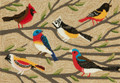 """BIRDS OF A FEATHER"" INDOOR OUTDOOR RUG - 30"" x 48"" - COLORFUL BIRDS RUG"