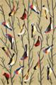 """BIRDS OF A FEATHER"" INDOOR OUTDOOR RUG - 5' x 7'6"" - COLORFUL BIRDS RUG"