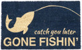 "GONE FISHING DOORMAT - 17"" X 28"" - WELCOME MAT - LAKE HOUSE DECOR"