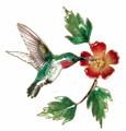 HUMMINGBIRD WITH TRUMPET FLOWER METAL WALL SCULPTURE - WALL ART