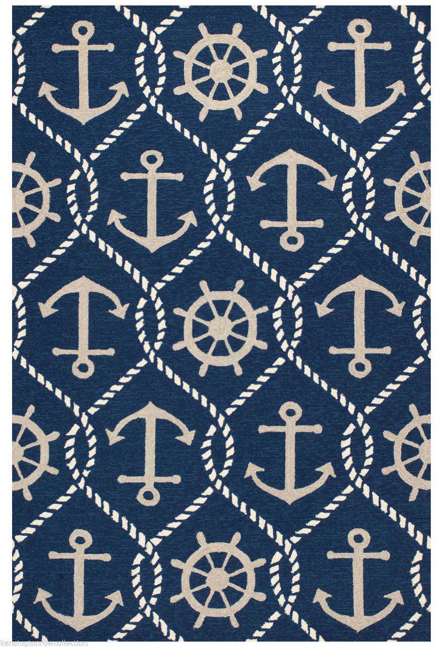 Anchors Aweigh Indoor Outdoor Rug 5 X 7 6 Nautical Anchor Rug