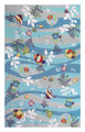 """CARIBBEAN SEA"" HAND HOOKED TROPICAL FISH RUG - NAUTICAL DECOR -  5' X 7'6"""