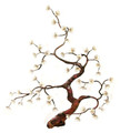 FLOWERING TREE METAL WALL SCULPTURE - WHITE BLOSSOMS - NATURE INSPIRED WALL ART