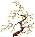 FLOWERING TREE METAL WALL SCULPTURE - YELLOW BLOSSOMS - WALL ART