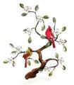 CARDINAL PAIR IN FLOWERING DOGWOOD TREE METAL WALL SCULPTURE - BIRD & FLORAL WALL ART