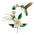 HUMMINGBIRD WITH BLOSSOMING LILY METAL WALL SCULPTURE - WALL ART