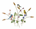 SONGBIRD TRIO WITH WILDFLOWERS METAL WALL SCULPTURE - BIRD & FLORAL WALL ART