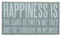 """HAPPINESS IS THE SAND BETWEEN MY TOES"" DECORATIVE WOODEN SIGN - NAUTICAL DECOR"
