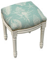 SEASHELL UPHOLSTERED STOOL - VANITY SEAT - AQUA BLUE LINEN SEAT CUSHION - ANTIQUE WHITE FRAME