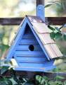 """CLAPHAM MANOR"" WOODEN BIRDHOUSE - ANTIQUE BLUE - GARDEN DECOR"