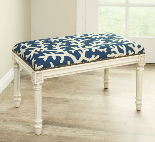 Remarkable Coral Sea Upholstered Bench Vanity Bench Blue Linen Seat Cushion White Wash Frame Caraccident5 Cool Chair Designs And Ideas Caraccident5Info