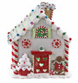 CHRISTMAS DECORATIONS - WHITE LED LIGHTED GINGERBREAD HOUSE WITH CUPCAKE TOPIARY