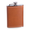 """CHARING CROSS"" SADDLE BROWN LEATHER WRAPPED STAINLESS STEEL FLASK - 8 OZ"