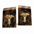 CADUCEUS TIGER EYE MARBLE BOOKENDS - MEDICAL - DOCTOR
