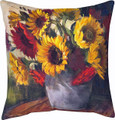 """AUTUMN SUNFLOWERS"" INDOOR OUTDOOR THROW PILLOW - 18"" SQUARE - FLORAL DECOR"