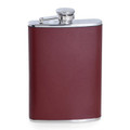 """""""HYDE PARK"""" BURGUNDY LEATHER WRAPPED STAINLESS STEEL FLASK - 8 OZ"""