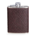 """CAMBRIDGE"" BROWN EMBOSSED LEATHER WRAPPED STAINLESS STEEL FLASK - 6 OZ"