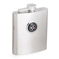 """""""GREENWICH"""" STAINLESS STEEL FLASK INSET WITH COMPASS - 8 OZ"""
