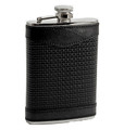 """WESTMINSTER"" BLACK WOVEN LEATHER WRAPPED STAINLESS STEEL FLASK - 8 OZ"
