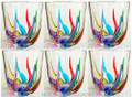 """VENETIAN CARNEVALE"" HAND PAINTED STEMLESS WINE GLASSES / OLD FASHIONED GLASSES - SET OF SIX"
