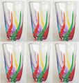 """VENETIAN CARNEVALE"" HIGHBALL GLASSES - SET OF SIX - HAND PAINTED VENETIAN GLASSWARE"