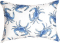 """DANCING BLUE CRABS""  INDOOR OUTDOOR OBLONG THROW PILLOW - 18"" X 13"""