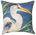 "MAJESTIC BLUE HERON INDOOR OUTDOOR THROW PILLOW - 18"" SQUARE - SHORE BIRDS"