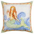 """MYTHICAL MERMAID"" INDOOR OUTDOOR THROW PILLOW - 18"" SQUARE -  NAUTICAL DECOR"