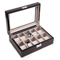 """NORTHWOOD HILLS"" TEN WATCH WOODEN WATCH BOX - STEEL GRAY"