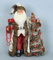 CHRISTMAS DECORATIONS - WOODLAND ELEGANCE SANTA WITH LIGHTED CHRISTMAS TREE