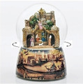 """SILENT NIGHT"" MUSICAL NATIVITY SNOW GLOBE WITH ROTATING THREE KINGS - CHRISTMAS DECORATION"