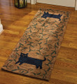 "AREA RUGS - ""STRETCHING CAT"" HAND HOOKED RUG - 24"" X 72"" RUNNER - BLACK CAT RUG"