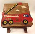 FIRE ENGINE WOODEN FOOTSTOOL - FIRE TRUCK FOOT STOOL