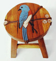 BLUEBIRD WOODEN FOOTSTOOL - BLUE BIRD FOOT STOOL