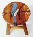 BLUEBIRD WOODEN FOOTSTOOL - BLUE BIRD FOOT STOOL