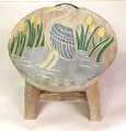 GREAT BLUE HERON WOODEN FOOTSTOOL - HERON FOOT STOOL - COASTAL & NAUTICAL DECOR