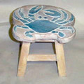 BLUE CRAB WOODEN FOOTSTOOL - CRAB FOOT STOOL - NAUTICAL DECOR
