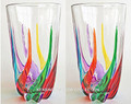 """VENETIAN CARNEVALE"" HIGHBALL GLASSES - SET OF TWO - HAND PAINTED VENETIAN GLASS"