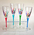 """VENETIAN CARNEVALE"" CHAMPAGNE FLUTES - SET OF FOUR - HAND PAINTED VENETIAN GLASSWARE"
