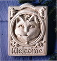 """CAT AND MOUSE"" STONE WELCOME WALL SCULPTURE - NATURAL STONE FINISH - GARDEN PLAQUE"